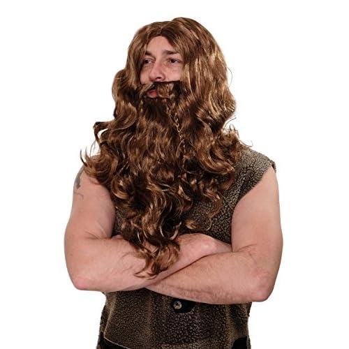 WIG ME UP ® - WIG007-P8 Perruque & Barbe Carnaval Halloween Viking Normand Berserker Barbare Dane Nain brun clair