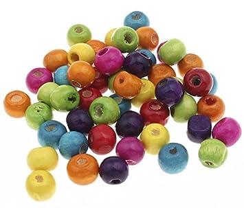 100 Holzperlen zum Fädeln 8 mm Speichelfest Farbwahl