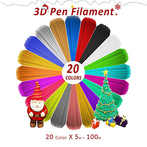 (3D Pen Filament Refills 1.75mm PLA Filament Pack of 20 Different Popular Colors(16.4FT/5M Each) Included 4 Glow in The Dark- Plastic Filament for 3D Printing Pen)