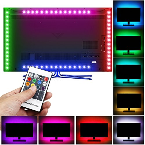 Albrillo LED TV Backlight RGB Light Strip Remote Control, USB Powered Bias Lighting for 30-60 inch HDTV, Flat Screen TV, PC, Desktop Monitors, (12 Flat Screen Tv Cabinet)