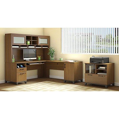 Bush Furniture Achieve L Shaped Desk with Hutch and Printer Stand File ()