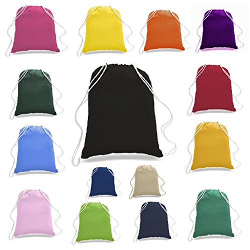 BagzDepot 100% Cotton Budget Friendly Sport Drawstring Bag Cinch Packs, Black, 12 Piece