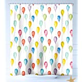 HAIXIA Shower-Curtains Kids Festival Entertainment Carnival Theme Flying Balloons Watercolors Celebration Surprise Decorative