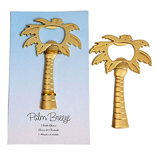 Youkwer 12 PCS Skeleton Coconut Palm Tree Shaped Bottle Opener with Escort Tag Card for Wedding Party Favors Gift & Decorations