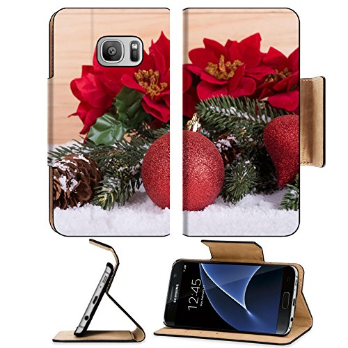 Luxlady Premium Samsung Galaxy S7 Flip Pu Leather Wallet Case IMAGE ID: 34448607 Red Christmas ball and decorations on snow with a wooden background