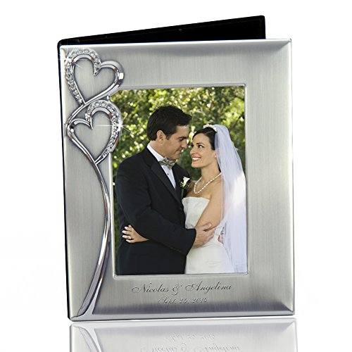 Thanh 39 Personalized Gifts -Silver Photo Album w. Crystal Hearts and Photo (Engraved Wedding Photo Album)