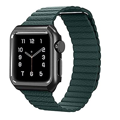 MGABS Compatible for Apple Watch Band 44mm 42mm 40mm 38mm - Strong Magnetic Leather Loop Replacement Strap Wristband for iWatch Series 4/3/2/1