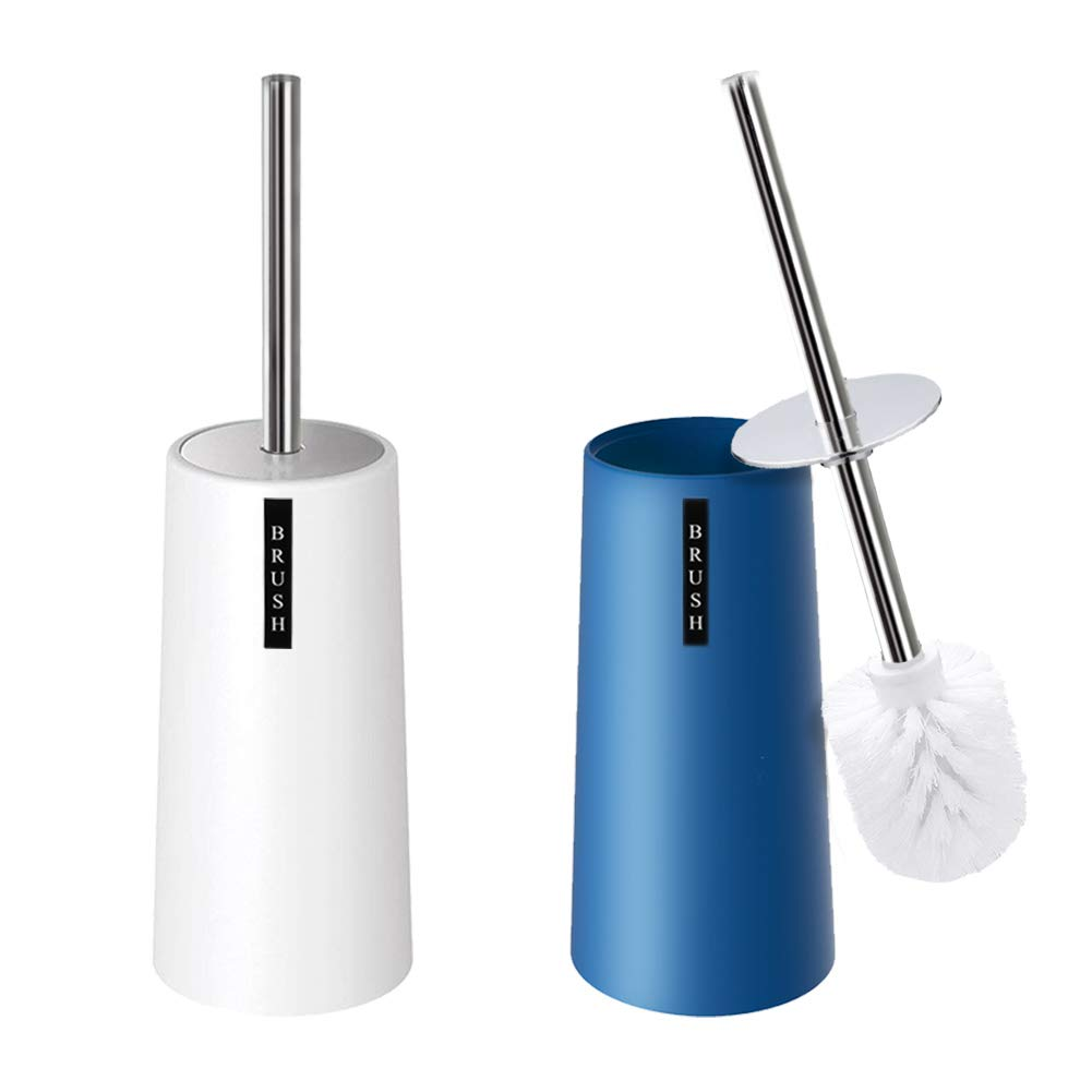 Kelamayi Toilet Brush and Holder-[2 Pack], Simple Solid Color Toliet Brush Holder with Upgraded Length Stainless Steel Toilet Brush Handle, Suitable for The Modern Home Décor-[Navy Blue & White]