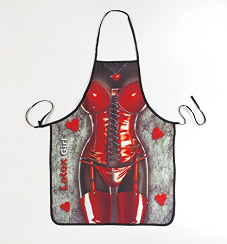 Apron Sexy Lady Character Apron Adult Cooking Kitchen Fashion Design BBQ Grilling Apron 100% Polyester Smooth (Red)