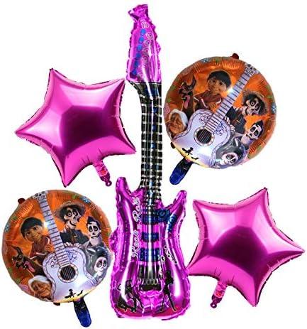 BAYUE Globos 5 unids / Set Globos de Guitarra Globos de Helio Decoraciones de Fiesta de cumpleaños for bebés Miguel Foil Ballon Kid Toys ( Color : 4 )