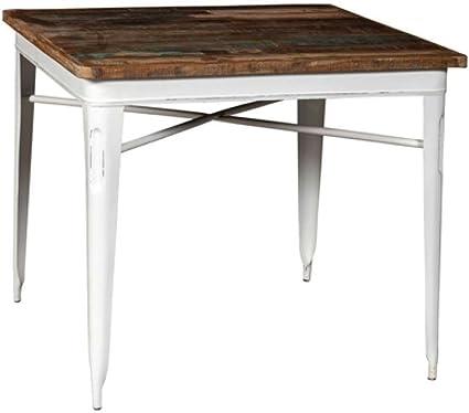 Tavolo Legno E Ferro Industrial Bianco Tavolo Con Base In Ferro Colore Bianco Anticato E Top