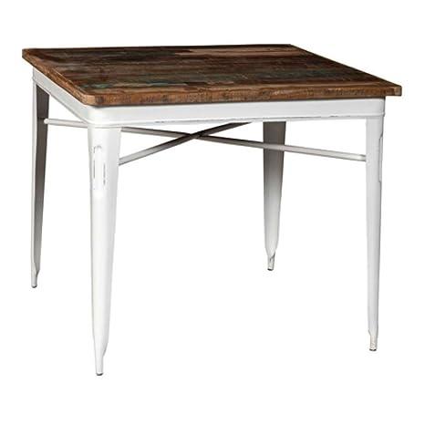 Tavolo legno e ferro industrial bianco. Tavolo con base in ferro ...