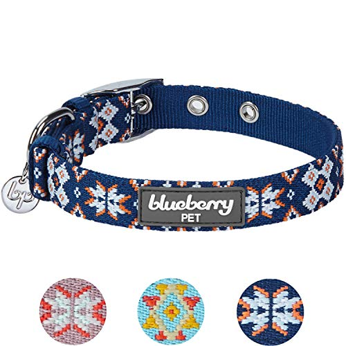 Blueberry Pet 13 Colors Modern Tribal Print Navy Braided Dog Collar with Metal Buckle, Neck 13-16.5