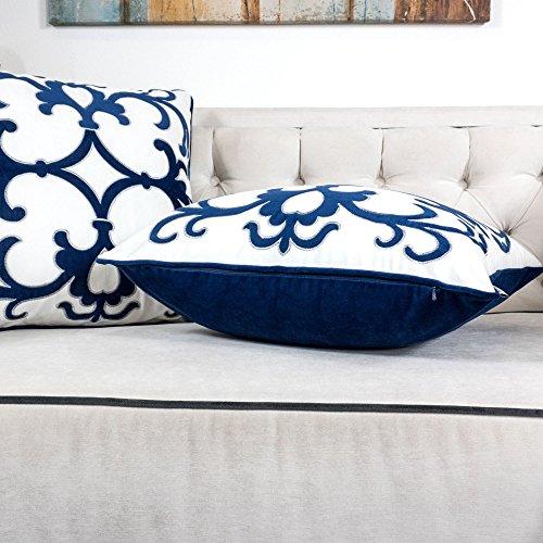 Homey Cozy Applique Navy Velvet Throw Pillow Cover,Ocean Blue Series Western Floral Nautical Decorative Pillow Case Coastal Beach Theme Home Decor 20x20,Cover Only