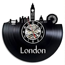 Dende London Vinyl Record Wall Clock - 12 Inch Silent Black Quartz Wall Clock - Non-ticking Digital Clocks Cityscape Travel Souvenir for Art Gift,Modern Home Decoration,Travelers(London)
