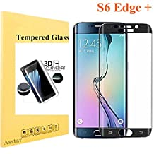 Galaxy S6 Edge Plus Tempered Glass, Screen Protector Asstar [Full Coverage] 9H 0.2mm Thinest Shatterproof Fingerprint-free Bubble free Film for Samsung Galaxy S6 Edge + (Black)