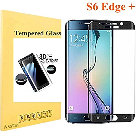 Galaxy S6 Edge Plus Tempered Glass, Screen Protector Asstar [Full Coverage] 9H 0.2mm Thinest Shatterproof Fingerprint-free Bubble free Film for Samsung Galaxy S6 Edge + (Otterbox Privacy Screen Iphone 5)