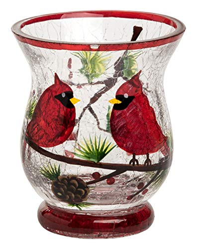 Transpac Imports D2192 Small Crackle Glass Cardinal Hurricane Lantern, Clear