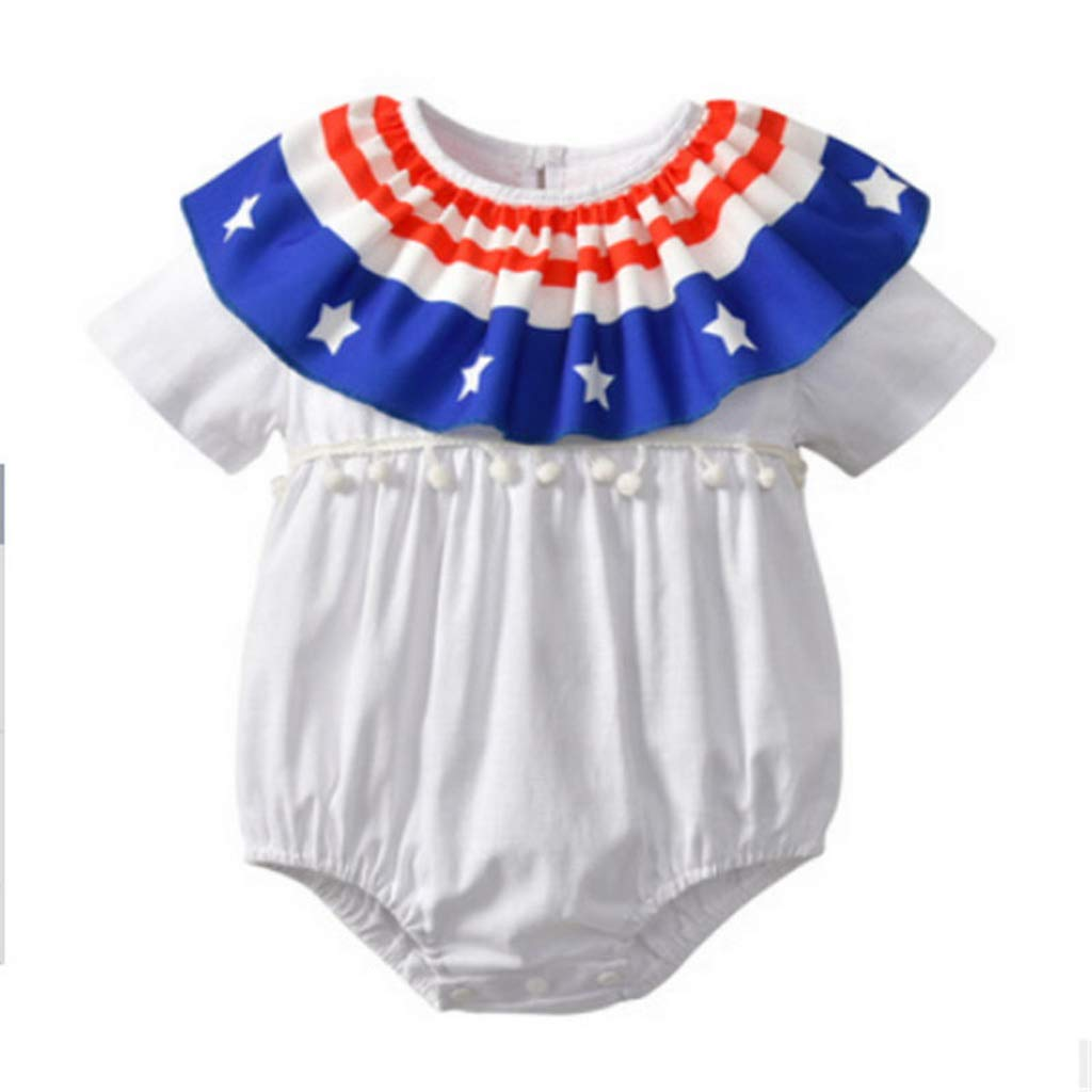 Bone Toddler Baby Girls Boys Round Neck Ruffle Summer Bodysuit Short Sleeve Kids Cotton Lovely Jumpsuit one Pieces B