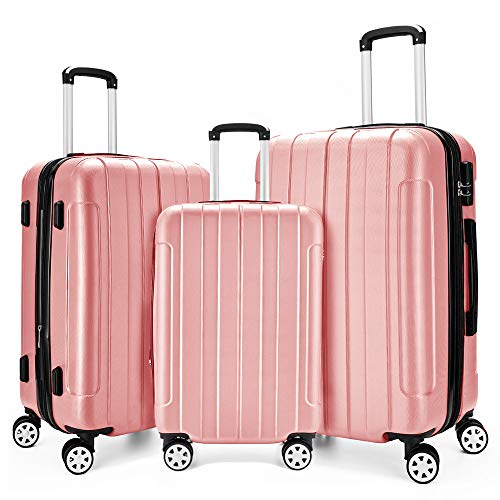 Fochier 3 Piece Expandable Spinner Luggage Set Lightweight Suitcase ()