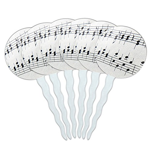Set-of-6-Cupcake-Picks-Toppers-Decoration-Music-Musical-Instruments-Music-Musical-Notes-Score-Composition