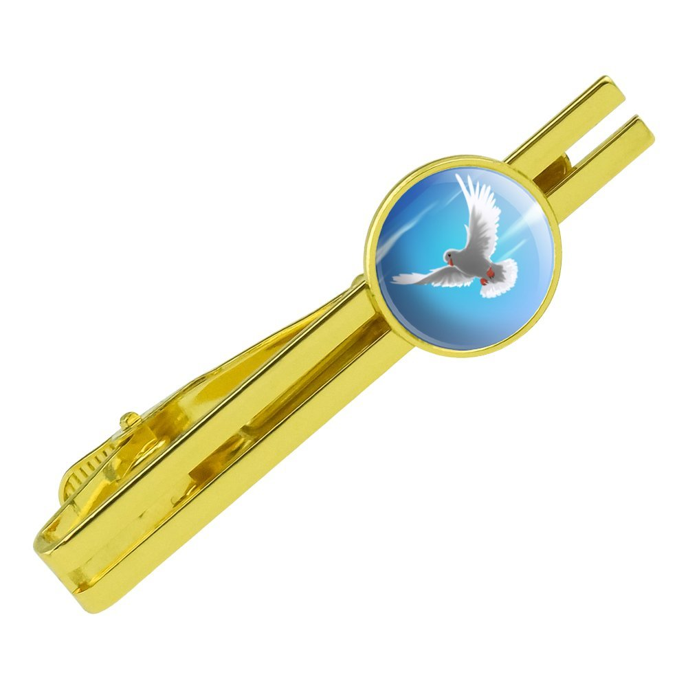 GRAPHICS /& MORE Dove Bird Flying in The Sky Round Tie Bar Clip Clasp Tack Gold Color Plated