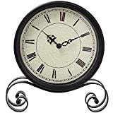 Classic Retro Clock, Vintage Iron Desk Clock Decorative Kitchen Table Clock European Style Vintage Silent Desk Table clock Non Ticking Quartz Movement Battery Operated, Easy to Read (Classic)