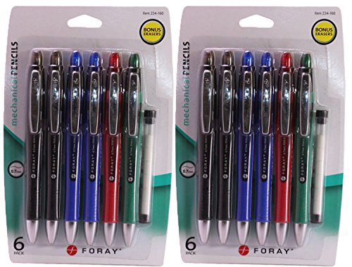 Foray Thick Mechanical Pencils 0.7 MM, Assorted Colors, With Bonus Erasers, 6 Count, (Pack of 2)
