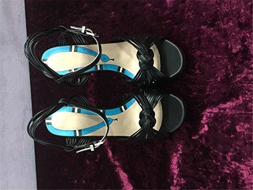 Talons Soirée Taille Sandales Fête Plate Toe Talon 35 Aiguille Noir HN Chaussures Noces Escarpin Peep 42 Shoes Forme Haute Noir Or Femmes Cheville gHwgqXTE