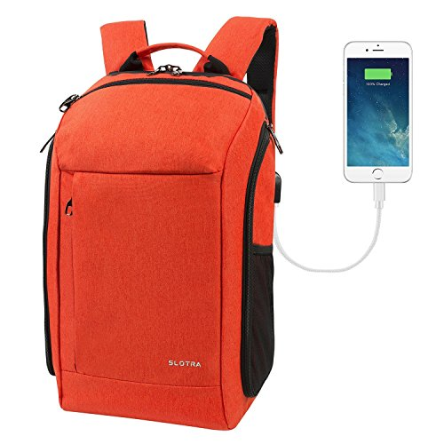 a4cb6d58d6 SLOTRA Backpack Flight Approved Carry On Bag Laptop Backpack 15.6 Inch with  USB Charging Port 25L