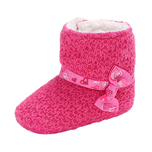 Infant Baby Girls Snow Boots Winter Warm Shoes for 0-18 Months,Toddler Soft Booties Bow Warking Princess Shoes (0-6 Months, -