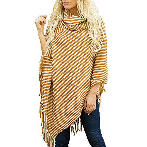 StyleV-shirts 2018 Women Diagonal Striped High Collar Shawl Autumn Fringed Cloak Sweater