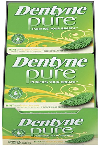 Sugar Free Gum 10 Piece (Dentyne Pure Sugar-Free Gum (Mint & Melon Accents, 9 Piece, Pack of 10))
