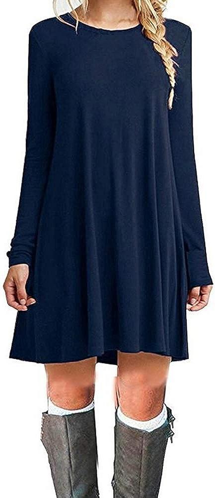 TALLA M. ZHANGNA Mujer Suelto Casual Vestido de la Camiseta Azul Oscuro Manga Larga