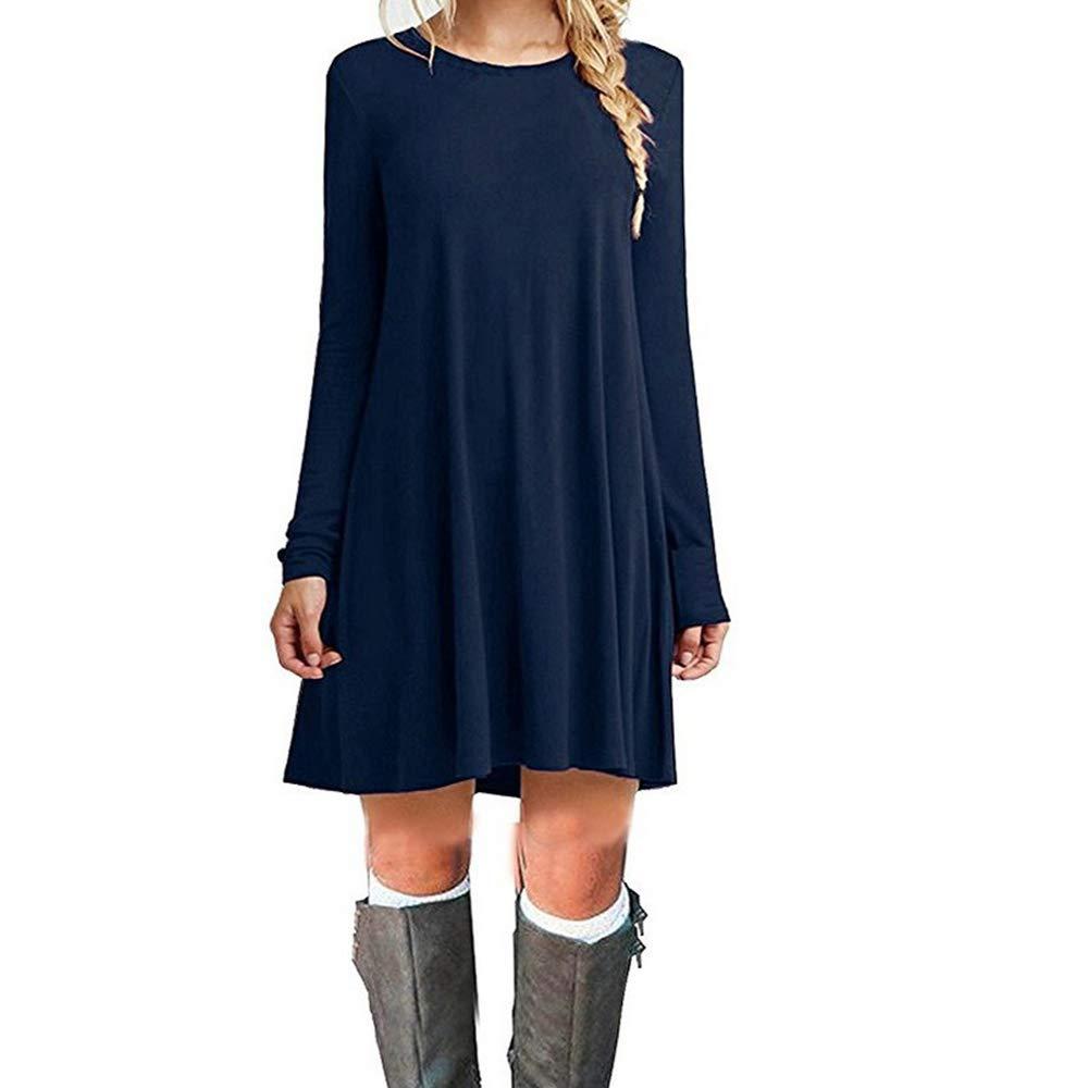 TALLA S. ZHANGNA Mujer Suelto Casual Vestido de la Camiseta Azul Oscuro Manga Larga