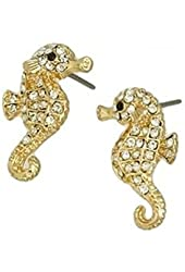 Small Adorable Sparkling Clear Crystal Seahorse Stud Earrings with Gold Tone for Girls Teens Women