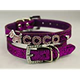 Kailian ® Pet Dog Cat Collar PU Leather with Rhinestone Buckle Personalized, Free Name (up to 7 free letters) & Charm (1 free charm)-Medium-Purple