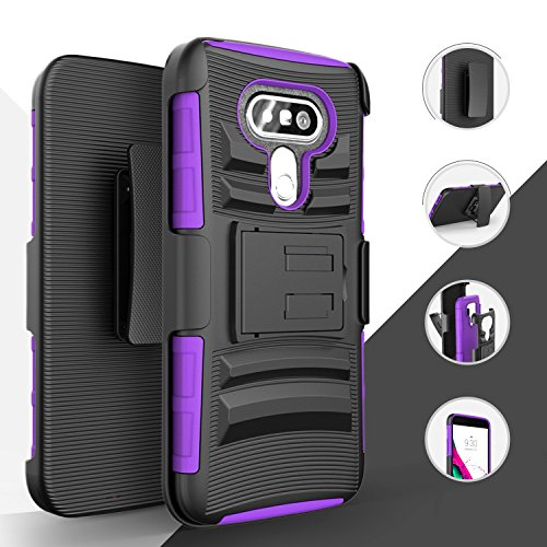 LG G5 Case, Luckiefind Hybrid Armor Stand Case with Holster and Locking Belt Clip, Stylus pen, Tempered Glass screen Protector Accessories (Holster Purple)
