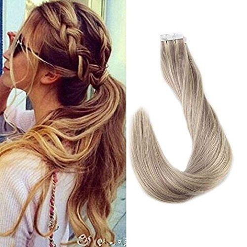 Full Shine 18 Inch Popular Multi-Colors #18/613 Caramel Blonde & Blonde Tape in Premium Remy Human Hair Extensions 20 Pcs Per Set 50g Weight Straight Human Hair Tape Hair Extensions