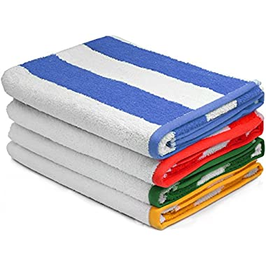 "Large Beach Towel, Pool Towel in Cabana Stripe (Variety 4 pack) - Cotton, 30""x60  by Utopia Towel"