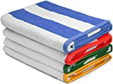 Utopia Towels Premium Quality Cabana Beach Towels - Pack of 4 Cabana Stripe Pool Towels (30 x 60 Inches) - Multi Color Towels with High Absorbency