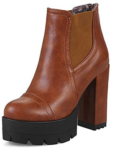 Easemax Women's Chic Back Zipper Chunky High Heel Pointed Toe Ankle High Martin Booties With Platform Yellow t9Cj5