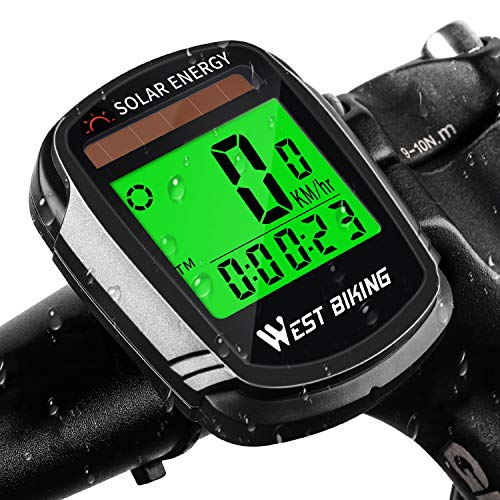 WESTGIRL Bike Computer Solar Energy, Wireless Waterproof Bicycle Speedometer Odometer, Automatic Wake-up Multifunctions Cycling Computers LCD Backlight, Cycling Accessories (Best Bike Computer For Mountain Biking)