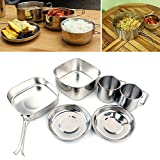 daffodilblob 6Pcs Portable Stainless Steel Picnic Cookware Camping Backpacking Cooking Pot Pan Cup Set Folding Handle camping, backpacking, hiking one color