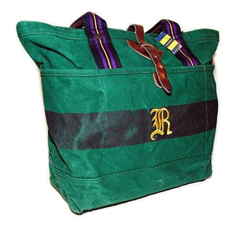 Ralph Lauren Rugby Vintage Canvas Carryall Tote Bag Green Black Purple - Lauren Bag Ralph Yellow