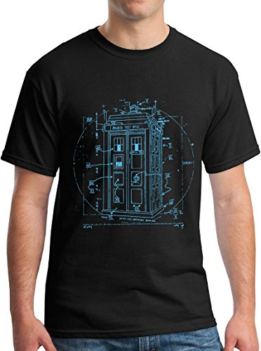 Police Box TShirt Vitruvian Da Vinci Style Doctor Shirt Black S