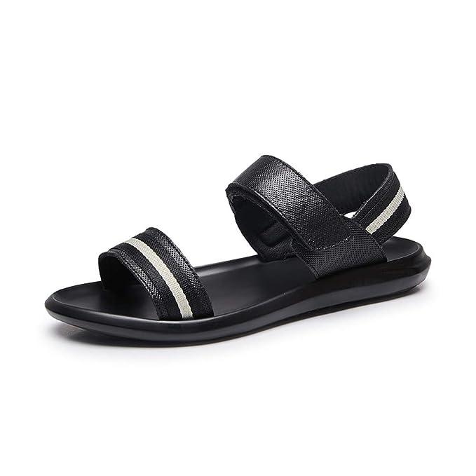 GYYFC De los hombres Antideslizante Ocio Zapatillas Velcro Respirable PU Zapatos de playa Ligero Realce Una palabra Sandalias: Amazon.es: Ropa y accesorios