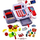 Kids Cash Register Toy With Sound Effects & Microphone, Calculator, With Cooking and Play Food Set - Perfect for Playing Restaurant or Supermarket