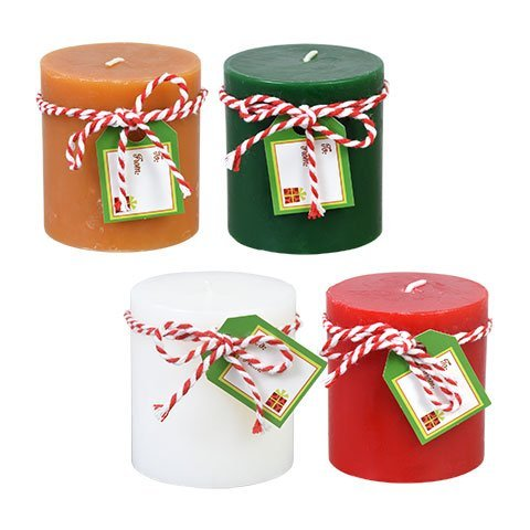 Luminessence Holiday-Scented Pillar Candles assorted among 4 different scents: Balsam, Deck the Halls, Spiced Gingerbread, and Peppermint Cream