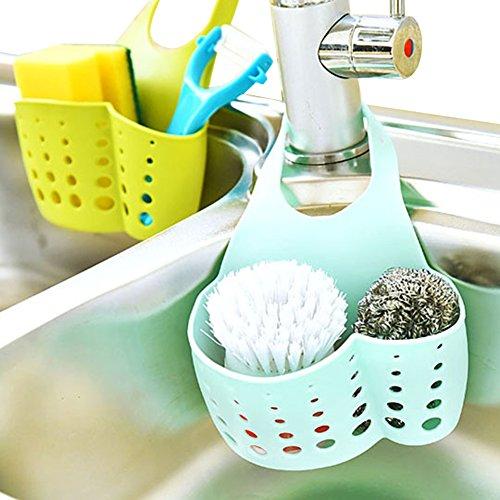 2 Pieces Kitchen Sink Sider Faucet Caddy, Bath Hanging Organizer & Sink Draining Soap Sponge Towel Holder Pocket(combo color)